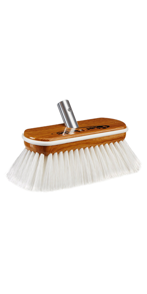 Premium Hard Wash Brush - Synthetic Wood Block W/Bumper (White)
